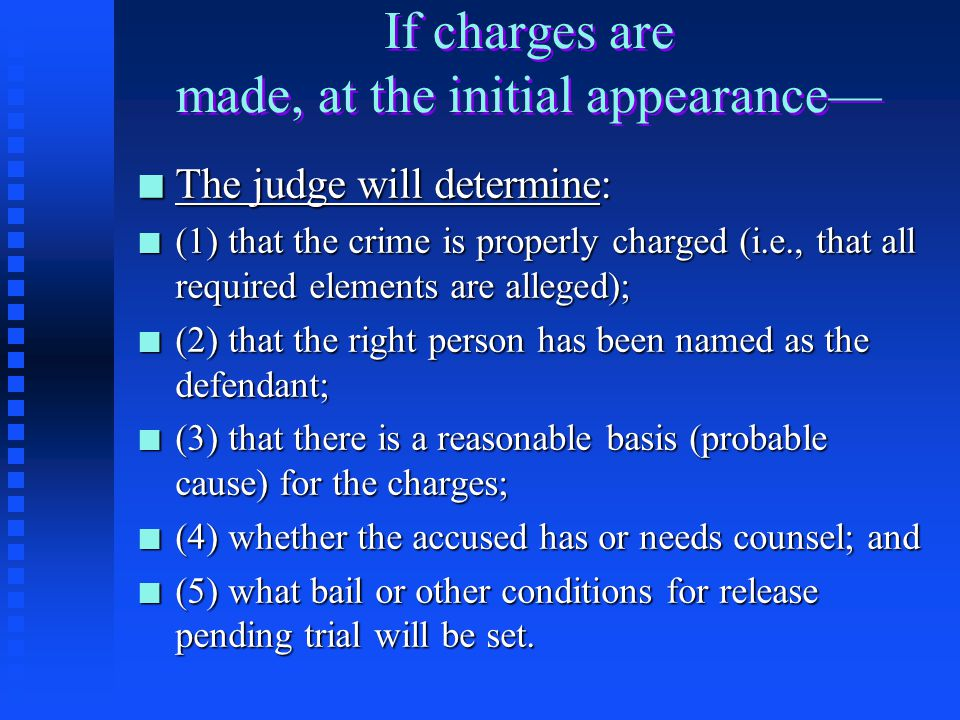Plea Bargaining n Following arrest, either before or after charges have been made, counsel for the accused and the prosecutor may meet and discuss the charges to be filed against the accused and whether the accused will enter a plea of guilty or not guilty.