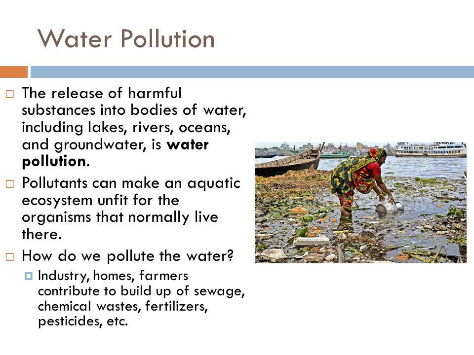 Water Pollution  The release of harmful substances into bodies of water, including lakes, rivers, oceans, and groundwater, is water pollution.