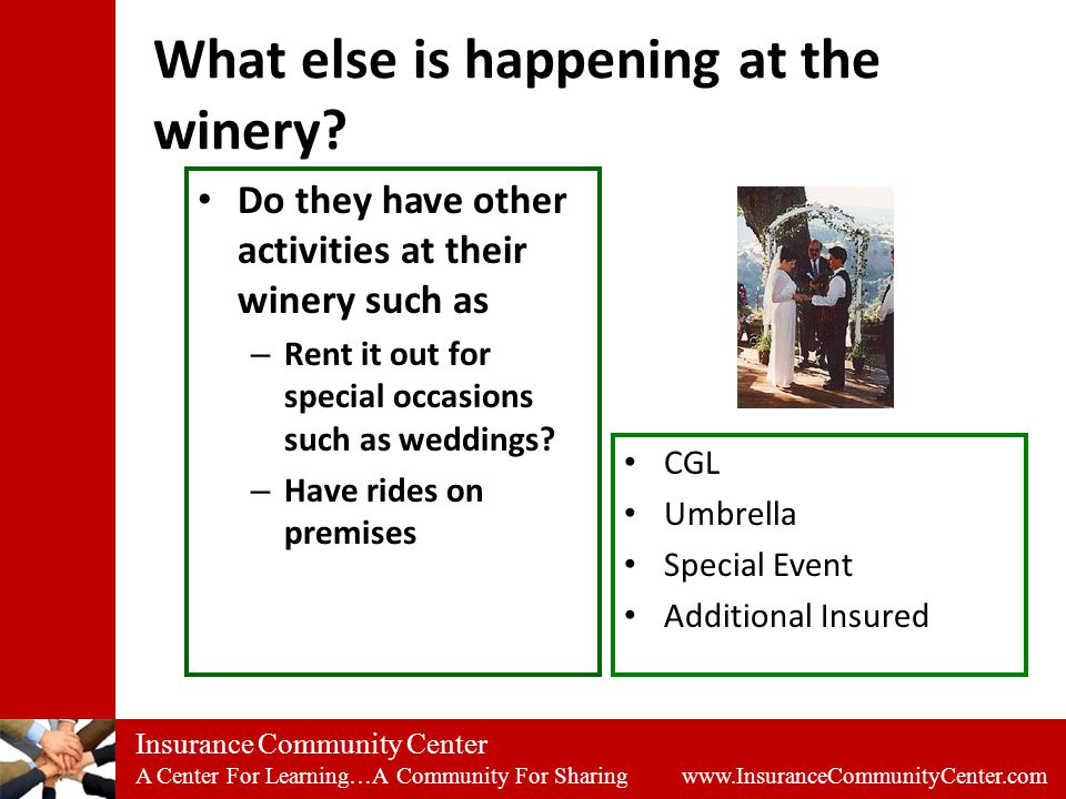 Insurance Community Center A Center For Learning…A Community For Sharing www.InsuranceCommunityCenter.com What else is happening at the winery.