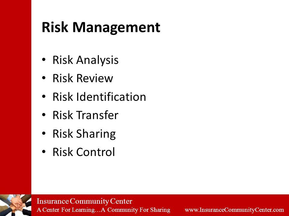 Insurance Community Center A Center For Learning…A Community For Sharing www.InsuranceCommunityCenter.com Risk Management Risk Analysis Risk Review Risk Identification Risk Transfer Risk Sharing Risk Control