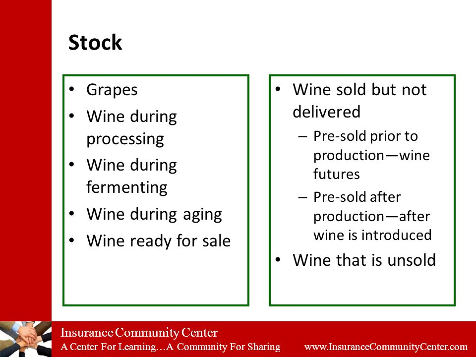 Insurance Community Center A Center For Learning…A Community For Sharing www.InsuranceCommunityCenter.com Stock Grapes Wine during processing Wine during fermenting Wine during aging Wine ready for sale Wine sold but not delivered – Pre-sold prior to production—wine futures – Pre-sold after production—after wine is introduced Wine that is unsold