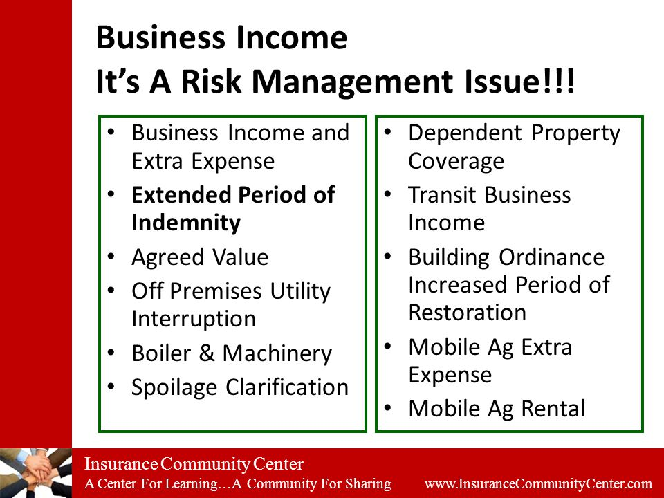 Insurance Community Center A Center For Learning…A Community For Sharing www.InsuranceCommunityCenter.com Business Income It's A Risk Management Issue!!.
