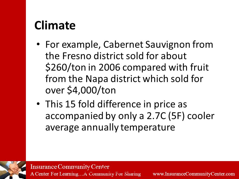Insurance Community Center A Center For Learning…A Community For Sharing www.InsuranceCommunityCenter.com Climate For example, Cabernet Sauvignon from the Fresno district sold for about $260/ton in 2006 compared with fruit from the Napa district which sold for over $4,000/ton This 15 fold difference in price as accompanied by only a 2.7C (5F) cooler average annually temperature Practical Winery & Vineyard (March/April 2008