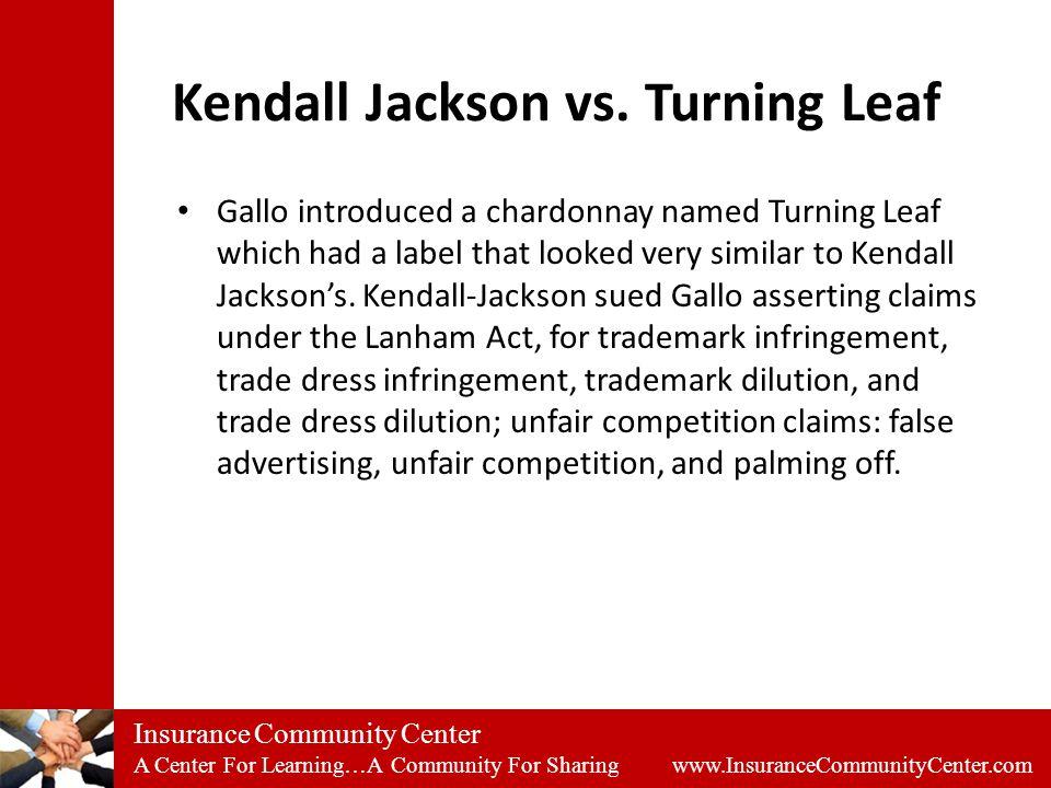 Insurance Community Center A Center For Learning…A Community For Sharing www.InsuranceCommunityCenter.com Kendall Jackson vs.
