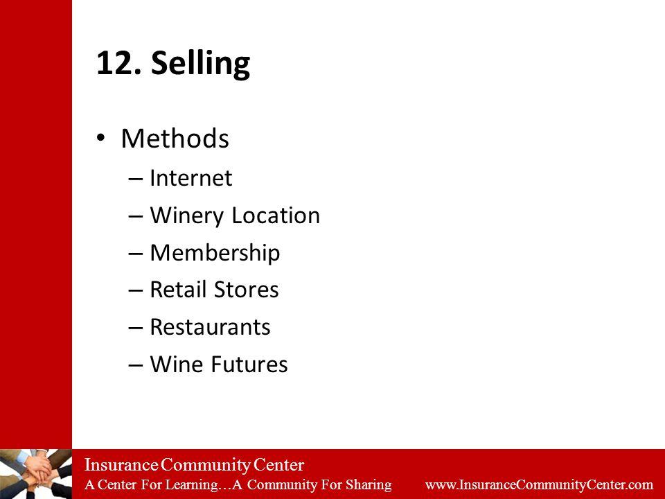 Insurance Community Center A Center For Learning…A Community For Sharing www.InsuranceCommunityCenter.com 12.