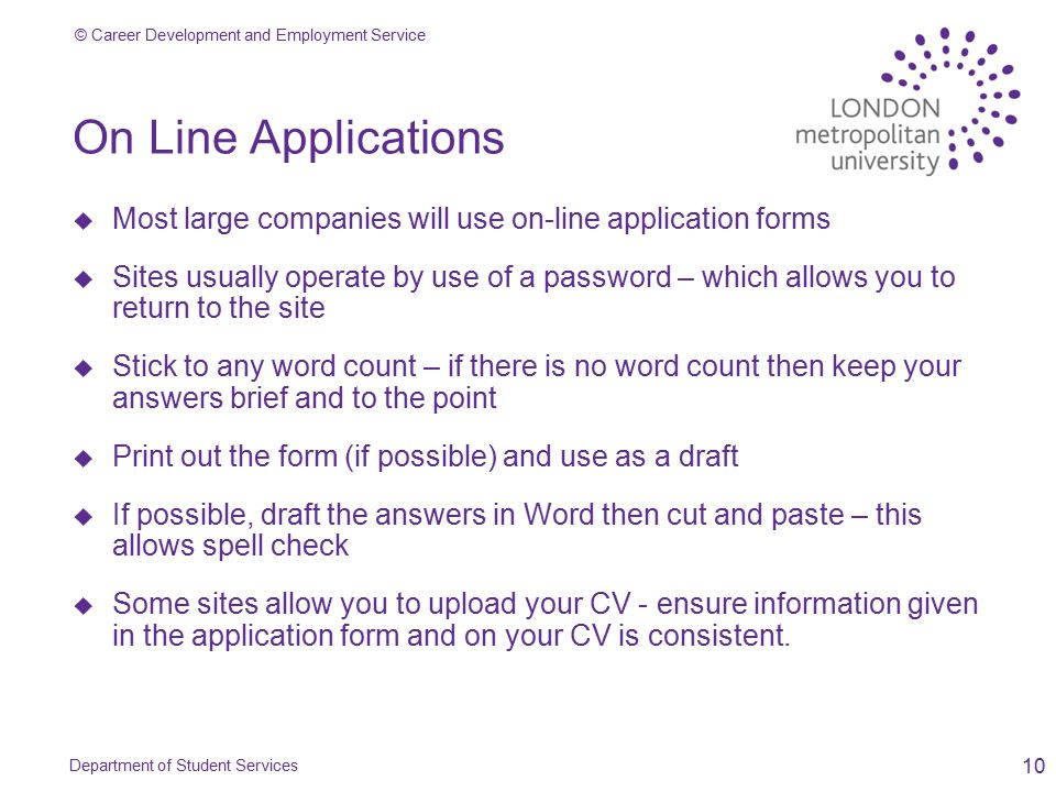 Career Development And Employment Service 1 Effective Application