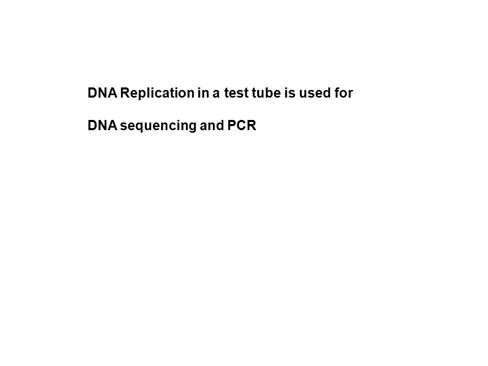 DNA Replication in a test tube is used for DNA sequencing and PCR