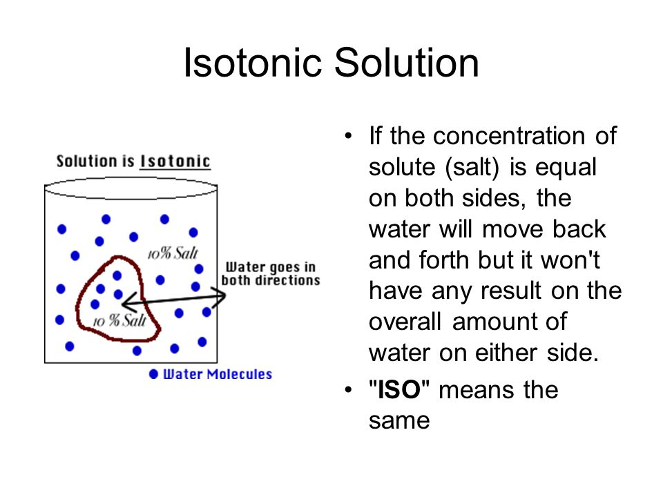 Isotonic Solution If the concentration of solute (salt) is equal on both sides, the water will move back and forth but it won t have any result on the overall amount of water on either side.