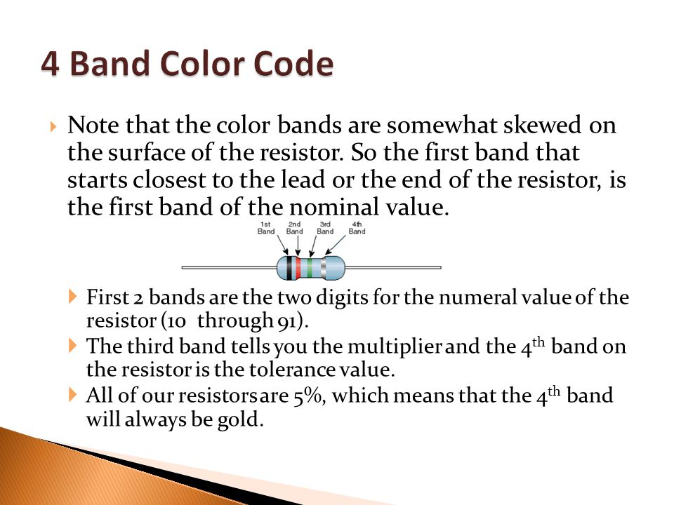  Note that the color bands are somewhat skewed on the surface of the resistor.