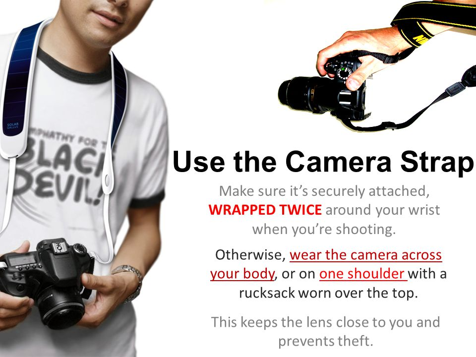 Make sure it's securely attached, WRAPPED TWICE around your wrist when you're shooting.