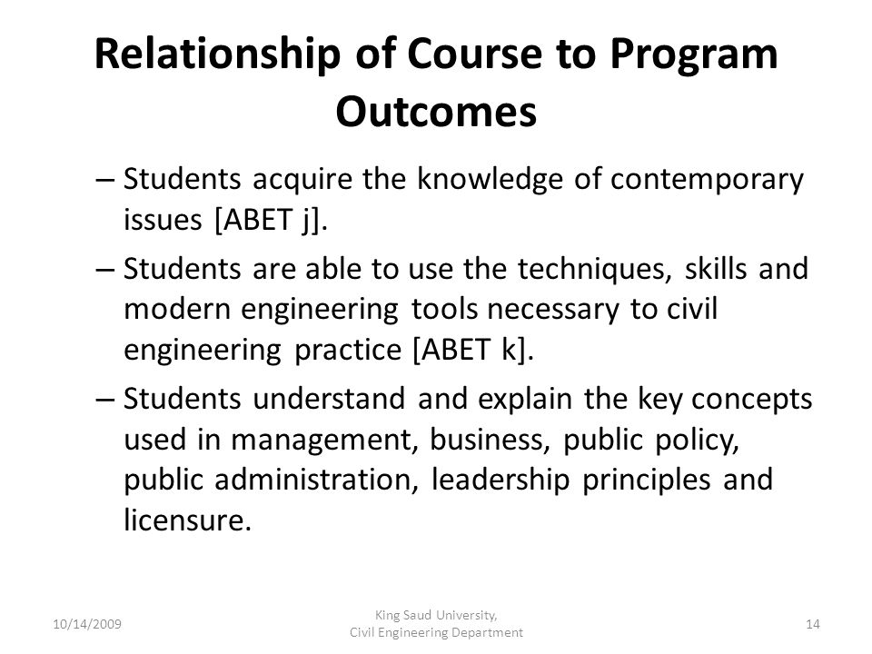 Relationship of Course to Program Outcomes – Students acquire the knowledge of contemporary issues [ABET j].