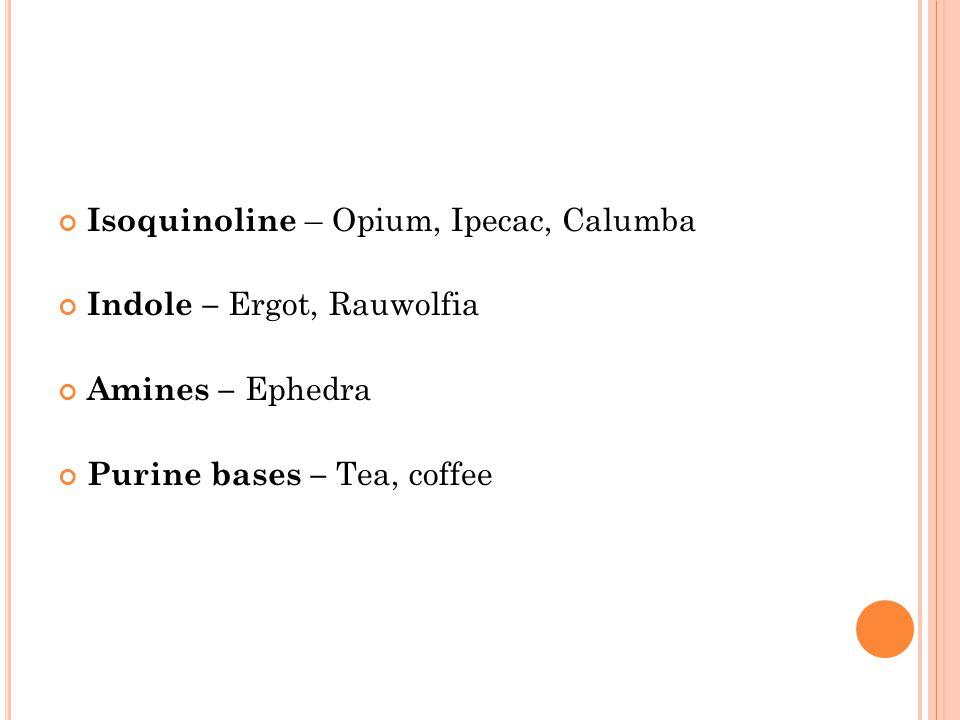 Isoquinoline – Opium, Ipecac, Calumba Indole – Ergot, Rauwolfia Amines – Ephedra Purine bases – Tea, coffee