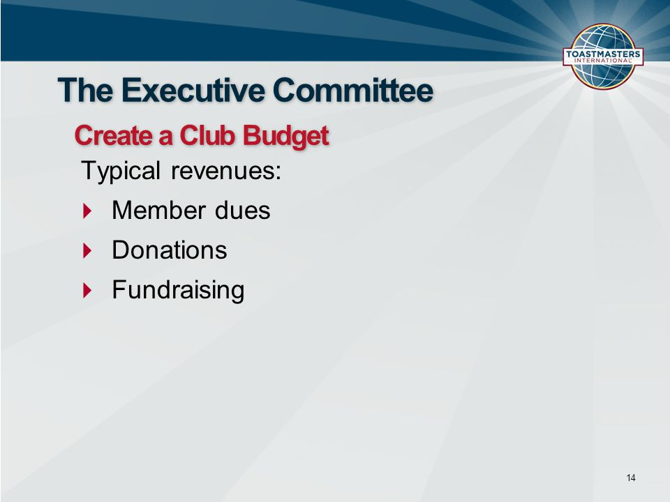 Typical revenues:  Member dues  Donations  Fundraising 14 The Executive Committee Create a Club Budget