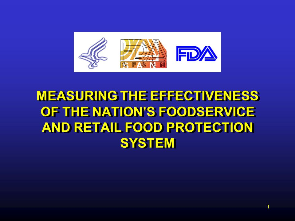 1 MEASURING THE EFFECTIVENESS OF THE NATION'S FOODSERVICE AND RETAIL FOOD PROTECTION SYSTEM