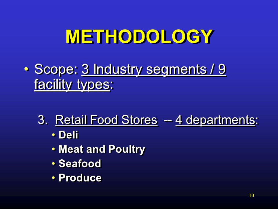 13 METHODOLOGY Scope: 3 Industry segments / 9 facility types: 3.
