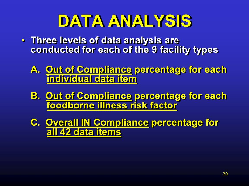 20 DATA ANALYSIS Three levels of data analysis are conducted for each of the 9 facility types A.