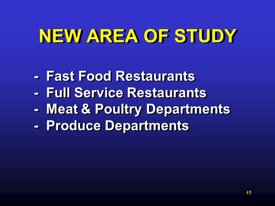 45 NEW AREA OF STUDY - Fast Food Restaurants - Full Service Restaurants - Meat & Poultry Departments - Produce Departments
