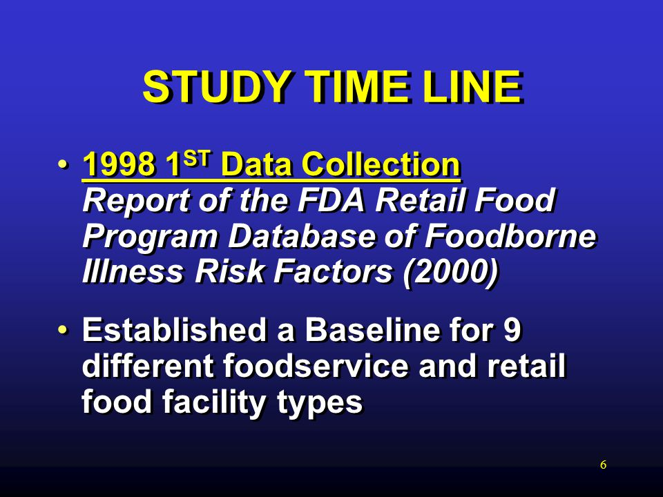 6 STUDY TIME LINE ST Data Collection Report of the FDA Retail Food Program Database of Foodborne Illness Risk Factors (2000) Established a Baseline for 9 different foodservice and retail food facility types ST Data Collection Report of the FDA Retail Food Program Database of Foodborne Illness Risk Factors (2000) Established a Baseline for 9 different foodservice and retail food facility types