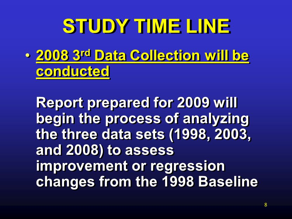 8 STUDY TIME LINE rd Data Collection will be conducted Report prepared for 2009 will begin the process of analyzing the three data sets (1998, 2003, and 2008) to assess improvement or regression changes from the 1998 Baseline