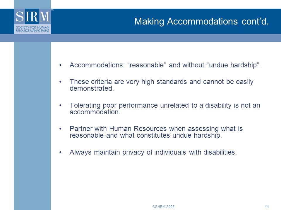 ©SHRM Making Accommodations cont'd.
