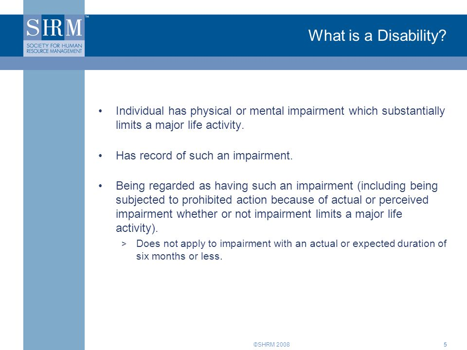 ©SHRM What is a Disability.