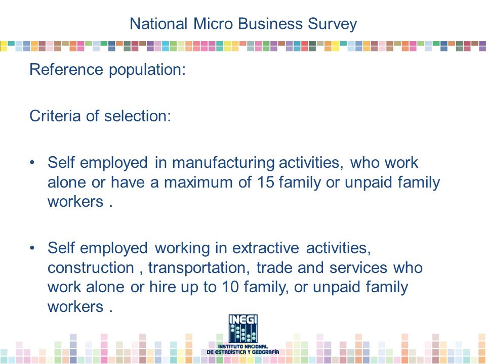 National Micro Business Survey Reference population: Criteria of selection: Self employed in manufacturing activities, who work alone or have a maximum of 15 family or unpaid family workers.