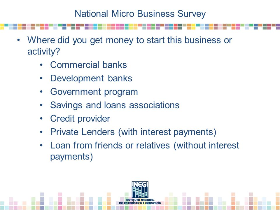 National Micro Business Survey Where did you get money to start this business or activity.