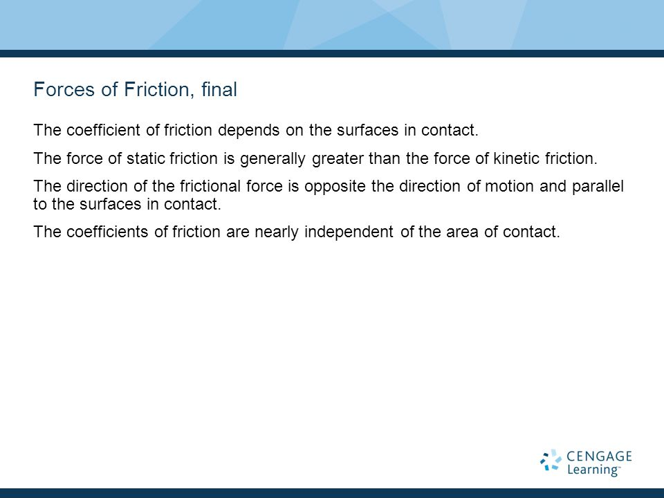 Forces of Friction, final The coefficient of friction depends on the surfaces in contact.