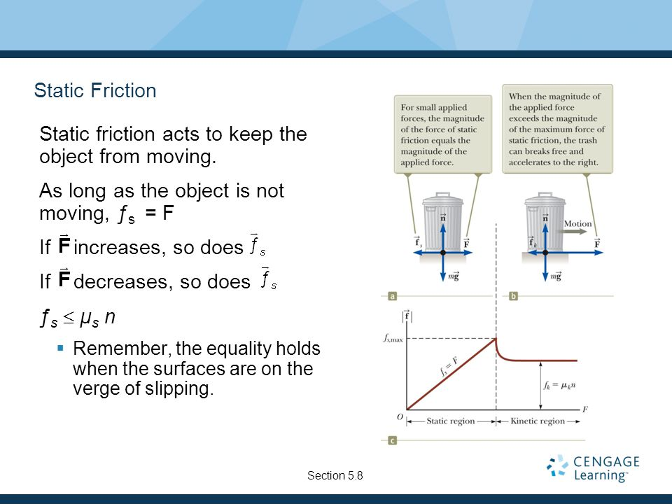 Static Friction Static friction acts to keep the object from moving.