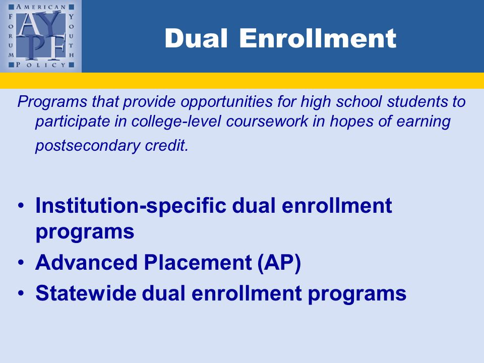 Dual enrollment coursework