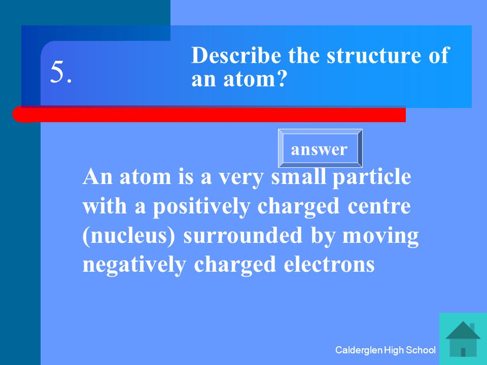 Calderglen High School What is the name given to the centre of an atom The NUCLEUS 4. answer
