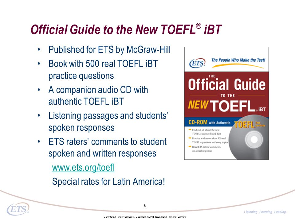 TOEFL iBT: Test Questions - Educational Testing Service