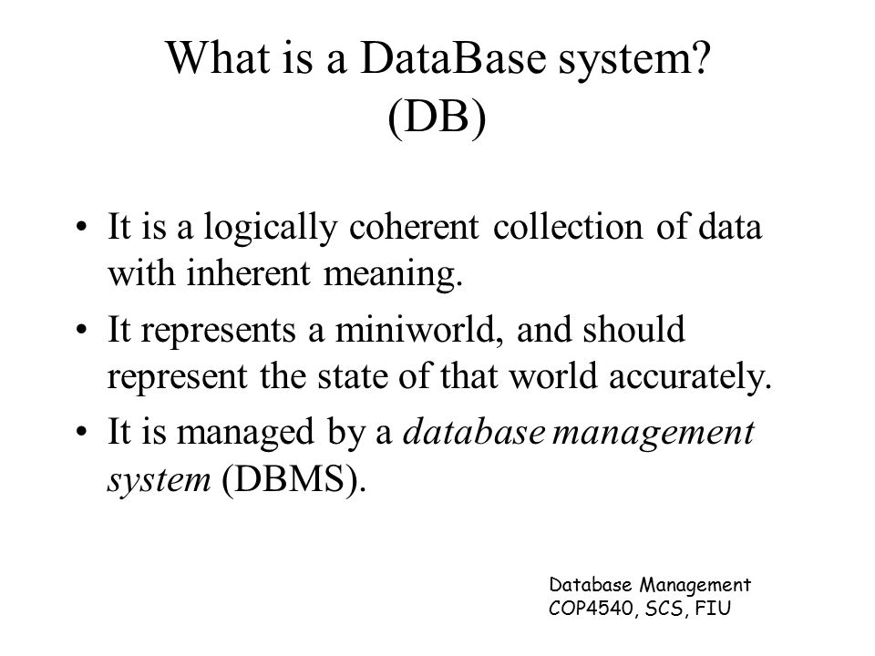 Database Management COP4540, SCS, FIU What is a DataBase system.
