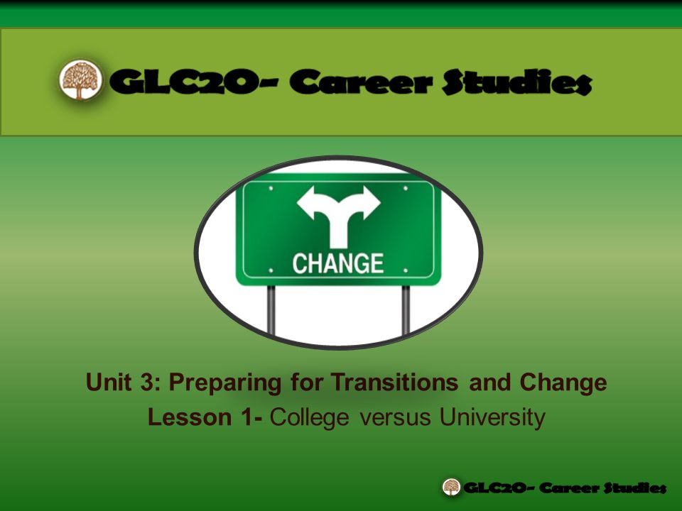 Unit 3: Preparing for Transitions and Change Lesson 1- College versus University