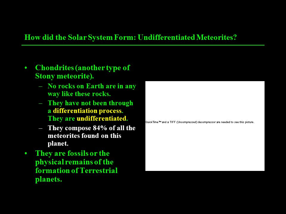 How did the Solar System Form: Undifferentiated Meteorites.