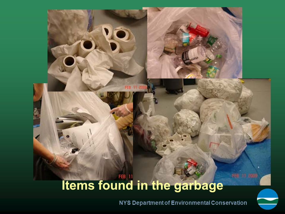 NYS Department of Environmental Conservation Items found in the garbage