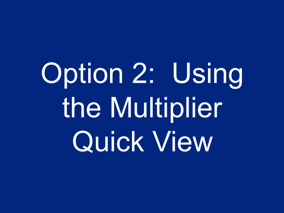 11 Option 2: Using the Multiplier Quick View