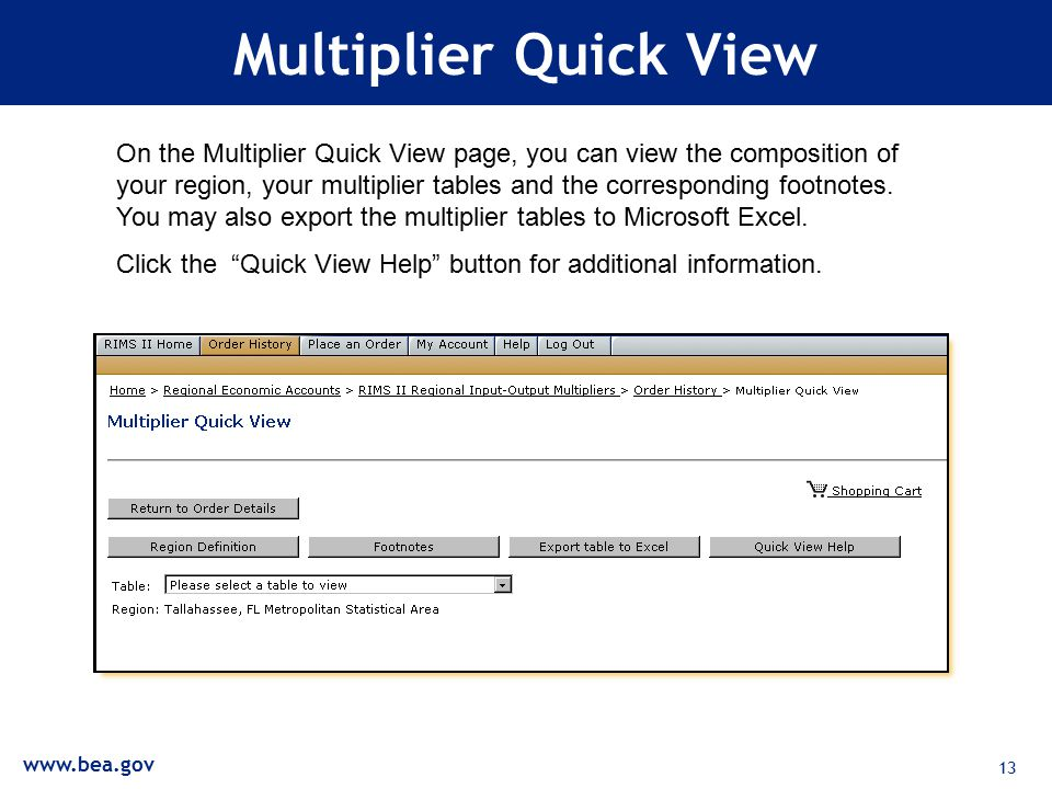 13 Multiplier Quick View On the Multiplier Quick View page, you can view the composition of your region, your multiplier tables and the corresponding footnotes.
