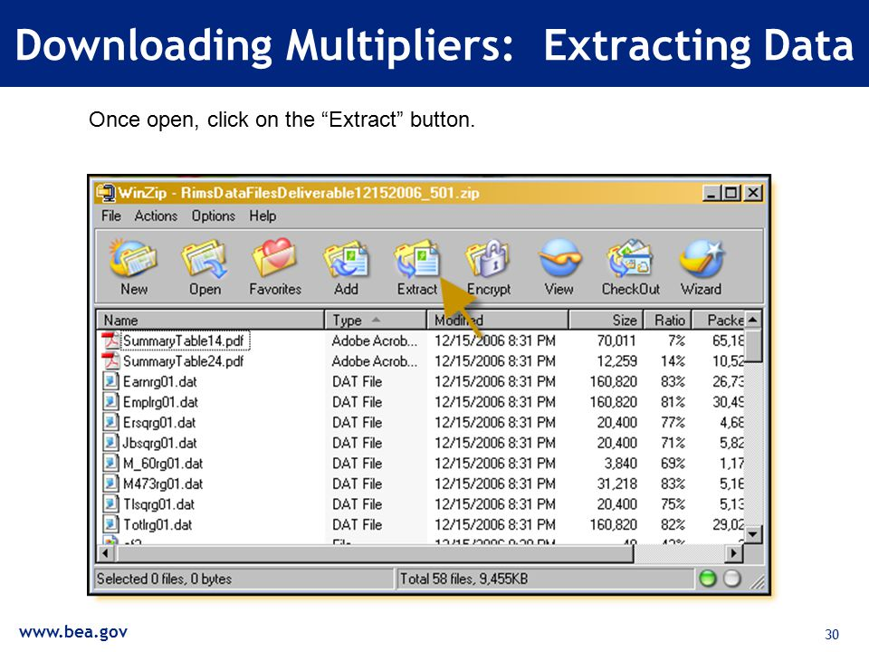 30 Downloading Multipliers: Extracting Data Once open, click on the Extract button.