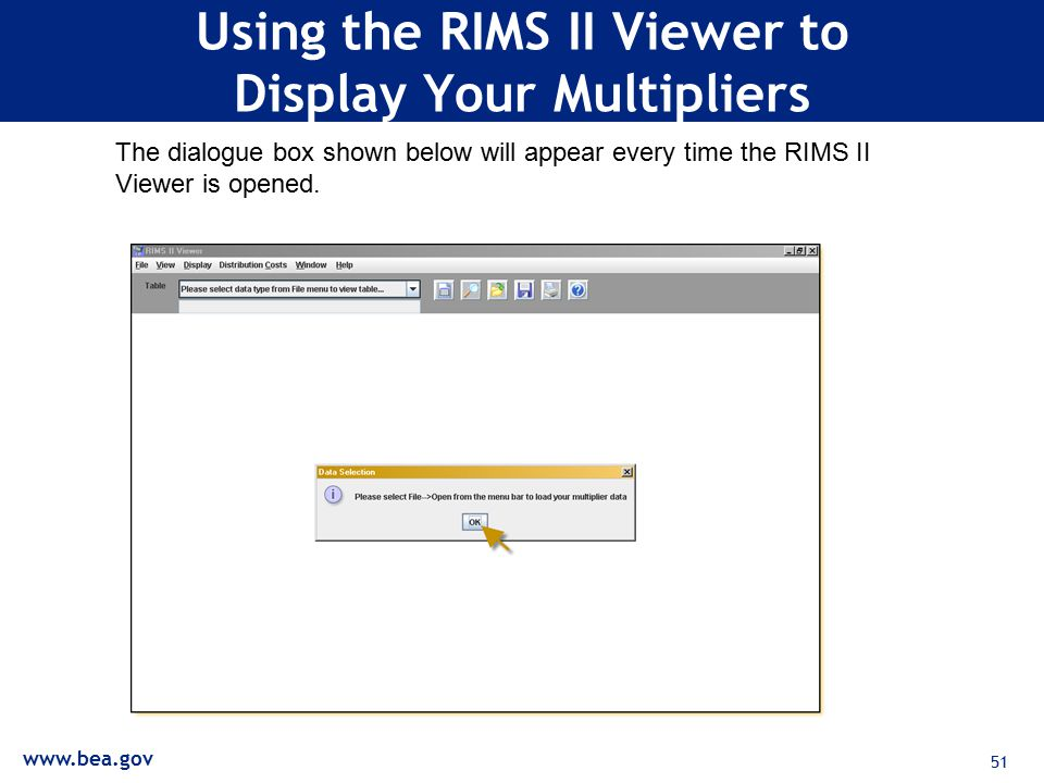 51 Using the RIMS II Viewer to Display Your Multipliers The dialogue box shown below will appear every time the RIMS II Viewer is opened.
