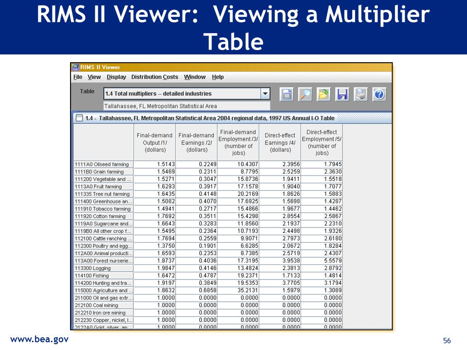 56 RIMS II Viewer: Viewing a Multiplier Table