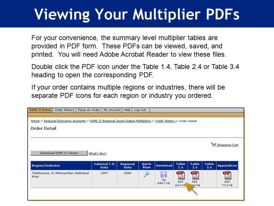 Viewing Your Multiplier PDFs For your convenience, the summary level multiplier tables are provided in PDF form.