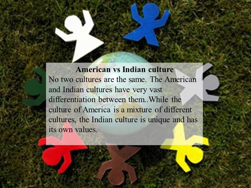 American vs Indian culture No two cultures are the same.