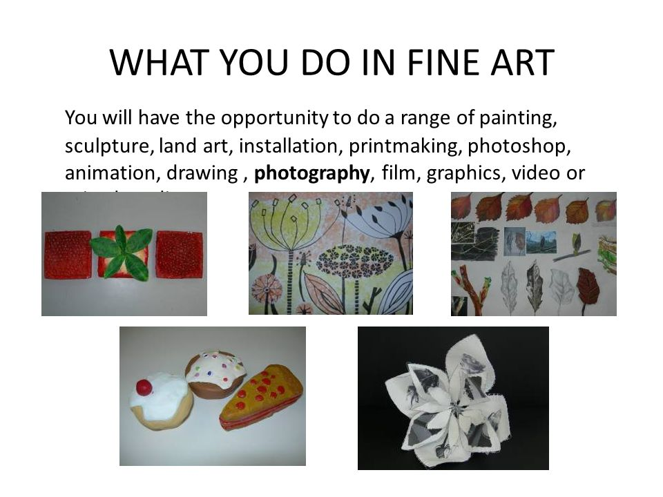 WHAT YOU DO IN FINE ART You will have the opportunity to do a range of painting, sculpture, land art, installation, printmaking, photoshop, animation, drawing, photography, film, graphics, video or mixed media.