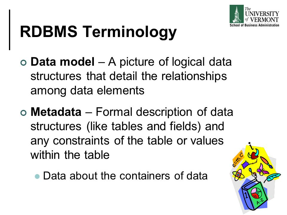 RDBMS Terminology Data model – A picture of logical data structures that detail the relationships among data elements Metadata – Formal description of