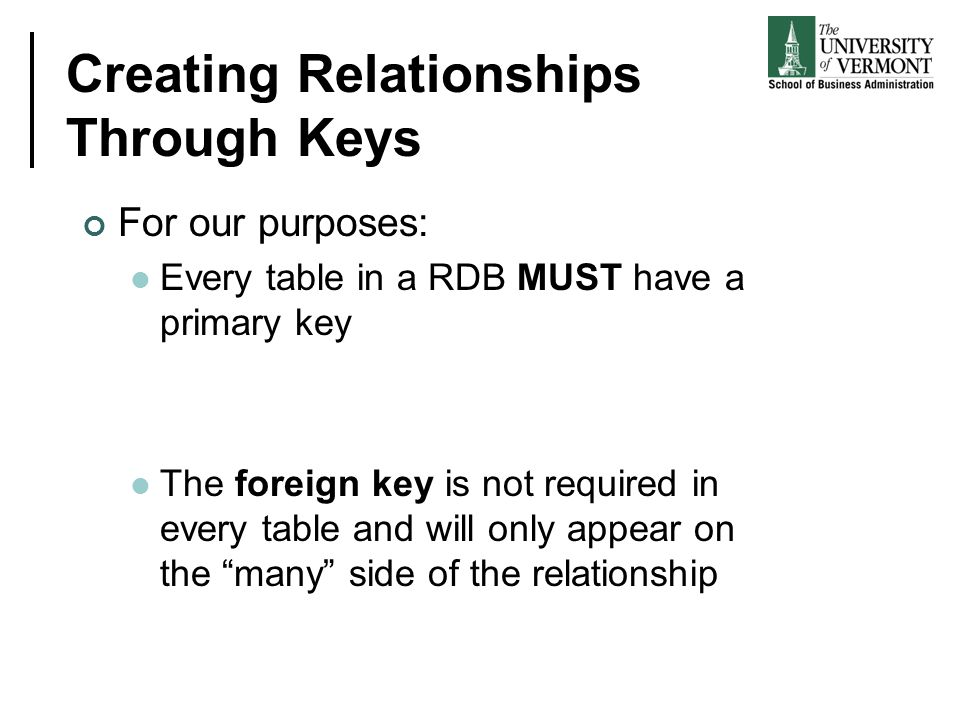 Creating Relationships Through Keys For our purposes: Every table in a RDB MUST have a primary key The foreign key is not required in every table and