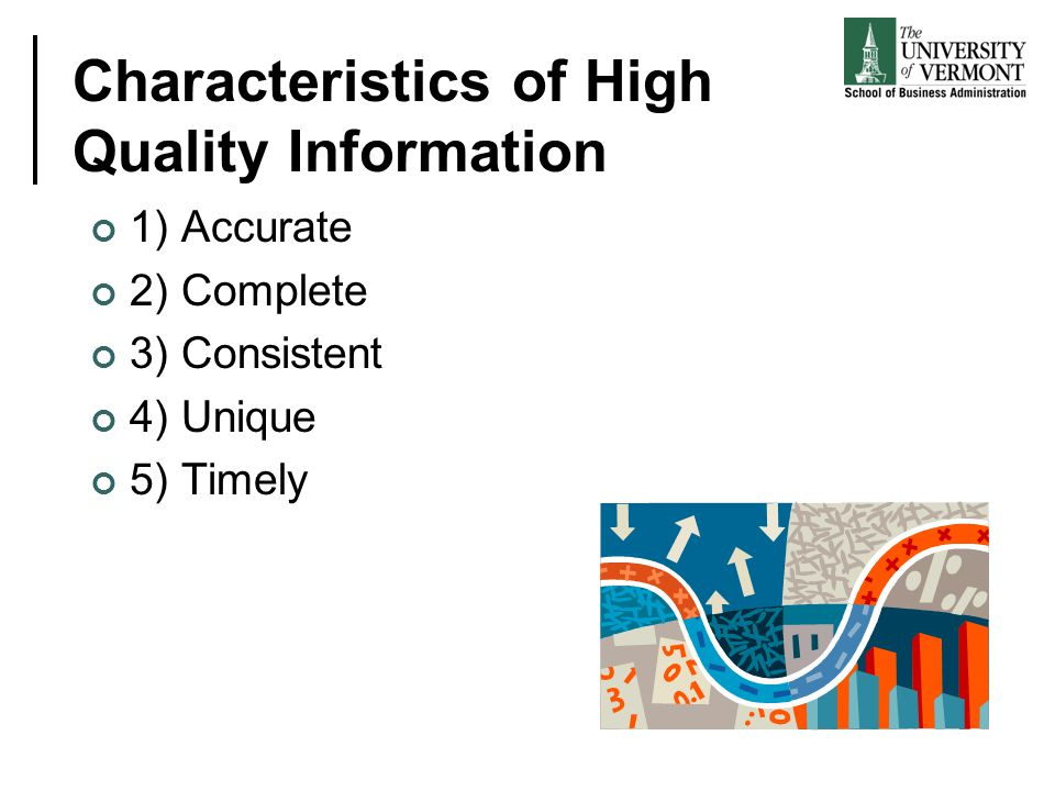 Characteristics of High Quality Information 1) Accurate 2) Complete 3) Consistent 4) Unique 5) Timely