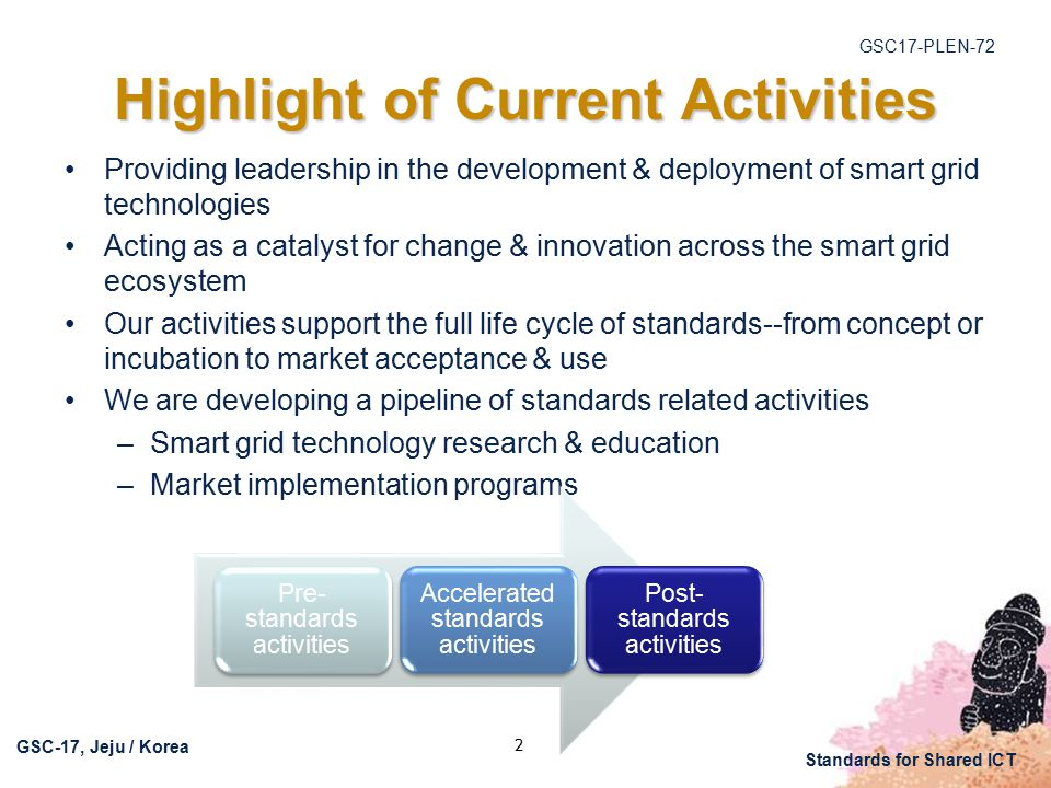 GSC17-PLEN-72 GSC-17, Jeju / Korea Standards for Shared ICT 2 Highlight of Current Activities Providing leadership in the development & deployment of smart grid technologies Acting as a catalyst for change & innovation across the smart grid ecosystem Our activities support the full life cycle of standards--from concept or incubation to market acceptance & use We are developing a pipeline of standards related activities –Smart grid technology research & education –Market implementation programs Pre- standards activities Accelerated standards activities Post- standards activities
