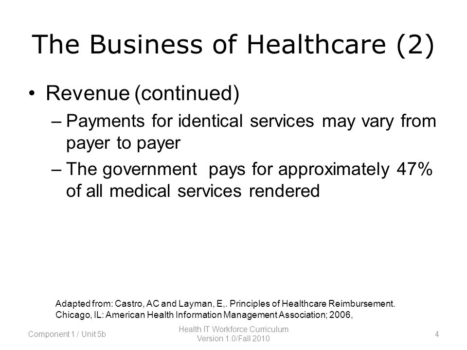 The Business of Healthcare (2) Revenue (continued) –Payments for identical services may vary from payer to payer –The government pays for approximately 47% of all medical services rendered Adapted from: Castro, AC and Layman, E,.
