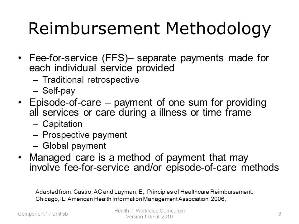 Reimbursement Methodology Fee-for-service (FFS)– separate payments made for each individual service provided –Traditional retrospective –Self-pay Episode-of-care – payment of one sum for providing all services or care during a illness or time frame –Capitation –Prospective payment –Global payment Managed care is a method of payment that may involve fee-for-service and/or episode-of-care methods Adapted from: Castro, AC and Layman, E,.